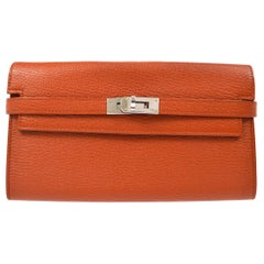 Hermes Leather Palladium Gold Evening Clutch Wallet Bag