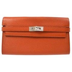 Hermes Orange Leather Palladium Gold Evening Clutch Wallet Bag