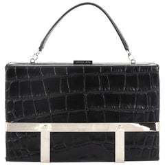 Alexander McQueen Cage Clutch Crocodile Embossed Leather Small