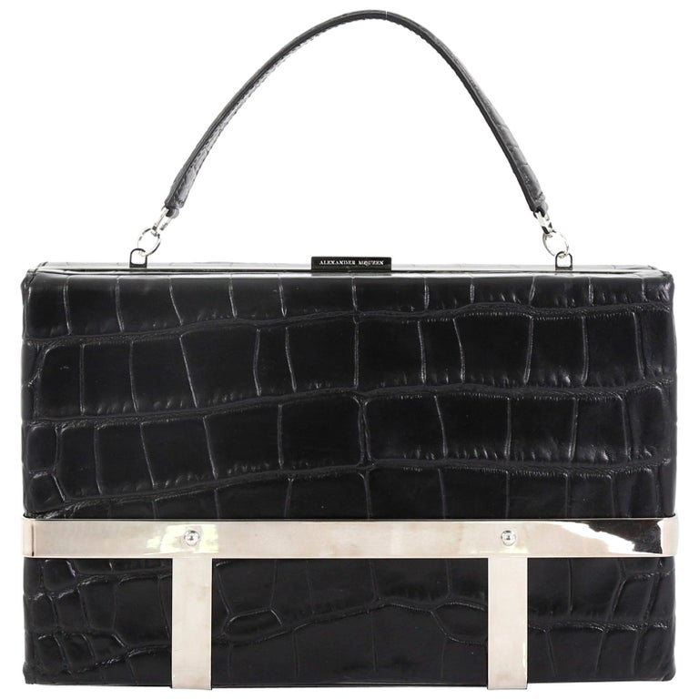 Alexander McQueen Cage Clutch Crocodile Embossed Leather Small For Sale