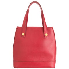 Hermes Red Leather Gold Accent Hardware Top Handle Bucket Shoulder Tote Bag