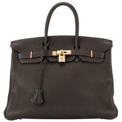 Hermes Birkin 35 Brown Leather Gold Travel Carryall Top Handle Satchel Tote