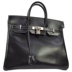 Hermes HAC 32 Black Leather Palladium Travel Top Handle Satchel Tote Bag