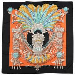 HERMES Black & Orange Silk MEXIQUE 90cm Scarf