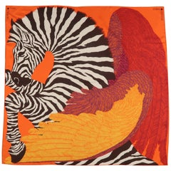 HERMES Orange Silk Zebra Pegasus Scarf