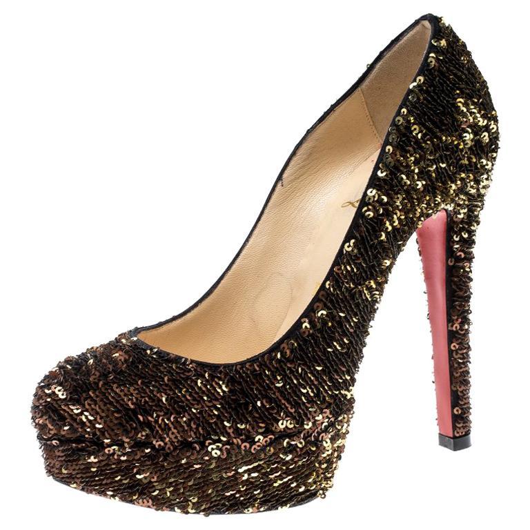 Christian Louboutin Gold Sequins Bianca Platform Pumps Size 36.5 For Sale