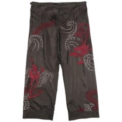 GUCCI by TOM FORD 2001 L Black Dragon Embroidered Silk Wide Leg Karate Pants
