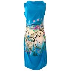 21st Century Modern & New Italian Silk Print Shift Dress By, Etro Size 8