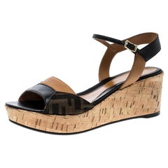 5fc57658aa62 Fendi Brown Black Zucca Canvas and Leather Wedge Sandals Size 38