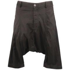 COMME des GARCONS HOMME PLUS Size M Black Nylon Blend Cropped Drop-Crotch Pants