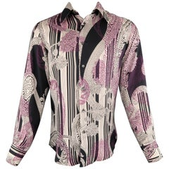 VERSACE Size S Cream & Black Striped Purple Floral Silk Long Sleeve Shirt