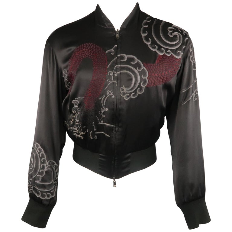 0e5018454 Men's GUCCI by TOM FORD 2001 S Black Dragon Silk Reversible Bomber Jacket  For Sale