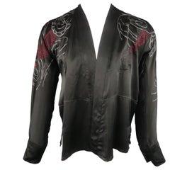 Men's GUCCI by TOM FORD S Black Dragon Print Silk Kimono Style Long Sleeve Shirt