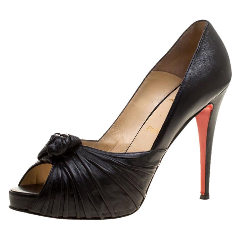 Christian Louboutin Black Leather Lady Gres Peep Toe Platform Pumps Size 42 For Sale