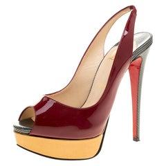 Christian Louboutin Two Tone Patent Leather Lady Peep Toe Slingback Sandals Size