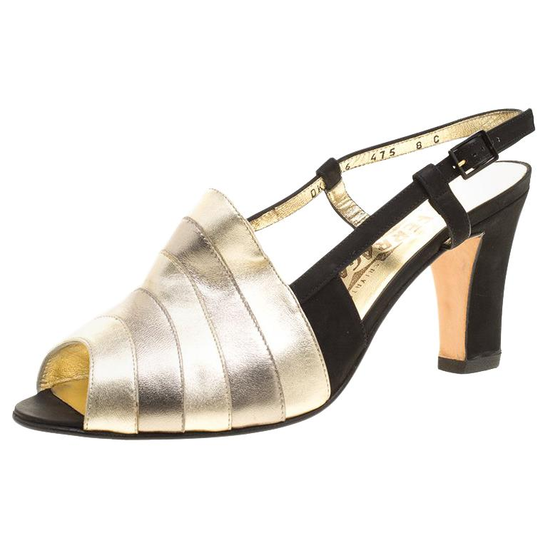 1d474badf9f4 Salvatore Ferragamo Metallic Striped Leather Peep Toe Sandals Size 38.5 For  Sale at 1stdibs