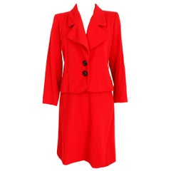 1990s Yves Saint Laurent Rive Gauce Red Wool Skirt Suit Formal Evening Dress