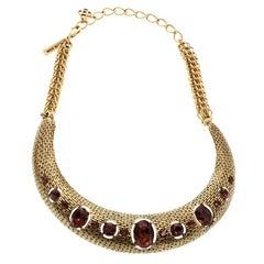 Oscar de la Renta Red Crystal Gold Tone Necklace