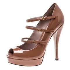 Gucci Brown Patent Leather Multi Strap Lisbeth Platform Pumps Size 36