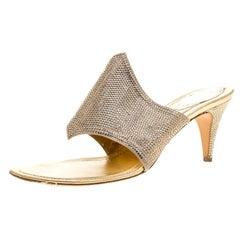 René Caovilla Gold Crystal Embellished Satin Slides Size 38
