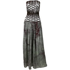 Jean Paul Gaultier Vintage Fishnet Optic Illusion Geometric Maxi Dress