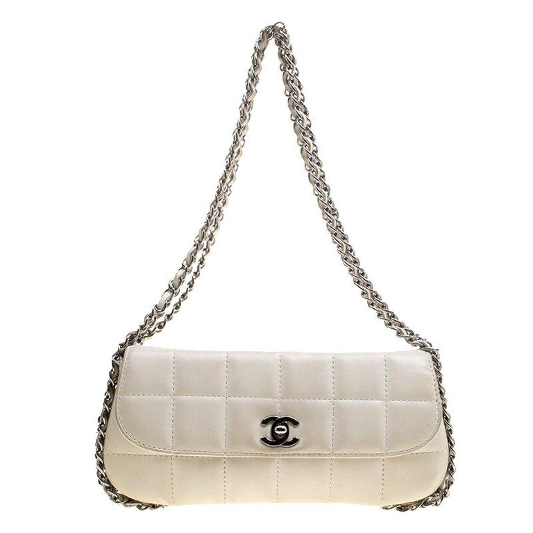 dbc6b5e28276 Chanel White Square Quilted Leather East West Baguette Flap Bag For Sale