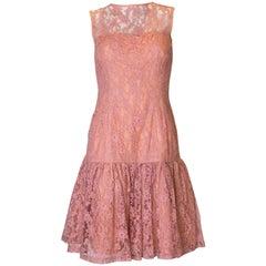 Vintage Dusty Pink Lace Cocktail Dress