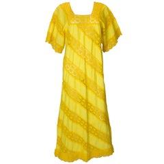 Vintage Mexicana Like Yellow Dress