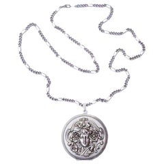 French Pierre Bex Art Nouveau style Silver Plated Necklace and Lady Locket