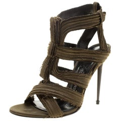Tom Ford Olive Green Satin Raw Edge Finish Cross Strap Peep Toe Sandals Size 38
