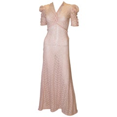 Vintage Pink Lace Gown