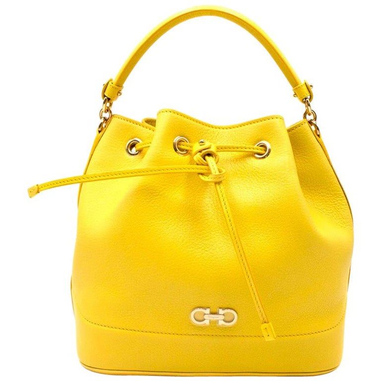 Salvatore Ferragamo Yellow Leather Mille Bag For Sale at 1stdibs 0b3624134ff65