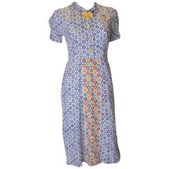 Vintage 1940s CC41 Dress with Contrasting Panels