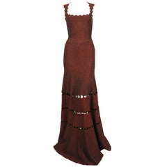 AZZEDINE ALAIA floor length gown with cut-out and scalloped neckline