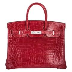 Hermès Shiny Braise Porosus Crocodile DWGHW 35cm Birkin Bag