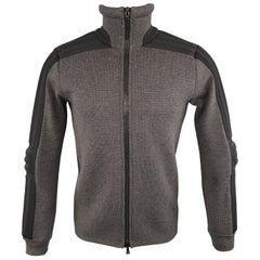 Men's PRADA S Gray Wool Knit High Collar Black Padded Moto Sleeve Jacket