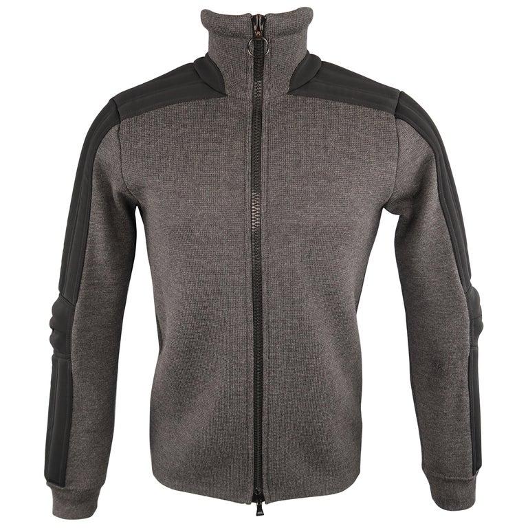Men's PRADA S Gray Wool Knit High Collar Black Padded Moto Sleeve Jacket For Sale