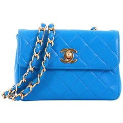 Chanel Vintage CC Chain Flap Bag Quilted Leather Extra Mini 5c8119f540640