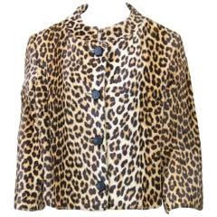 1960s Faux Leopard Cropped Jacket