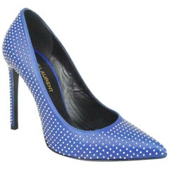 Saint Laurent Royal Blue Calfskin Micro Stud Pumps - 36