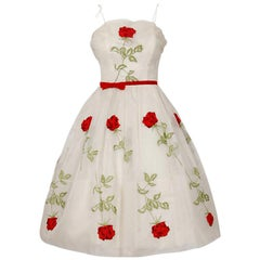 1950's Red-Roses Floral Embroidered Ivory Silk-Organza Full Skirt Party Dress