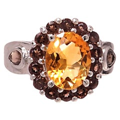 Golden oval Citrine with Smoky Quartz halo in Sterling Silver Ring