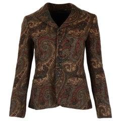 Ralph Lauren Brown Wool Paisley Jacket/Blazer Sz 6