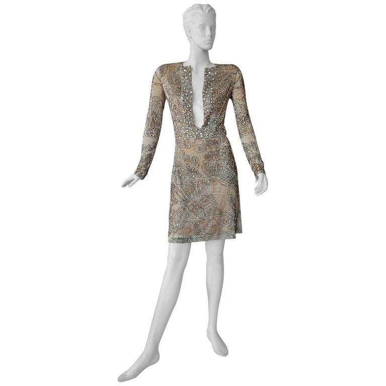 Rare Gucci 2000 Tom Ford Runway Jeweled Lace Evening Cocktail Dress  New For Sale