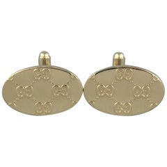 GUCCI by TOM FORD 2000 Light Gold Tone Metal Guccissima Cuff Links
