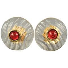 Vintage CHANEL Clear Textured Lucite Gold Gem Circle Cip On Earrings