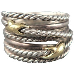 DAVID YURMAN Size 7 Sterling Silver & Gold 6 Rope Band Ring