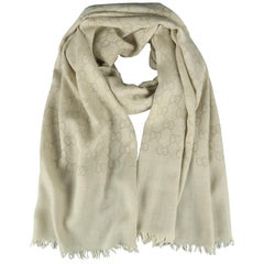 GUCCI Oatmeal Beige Wool / Silk Guccissima Monogram Scarf