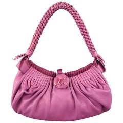 BOTTEGA VENETA Purple Leather Braided Handle Handbag