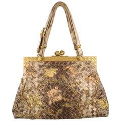 BOTTEGA VENETA Lavorazione Fatta a Aano Taupe Intrecciato Lizard Leather Handbag